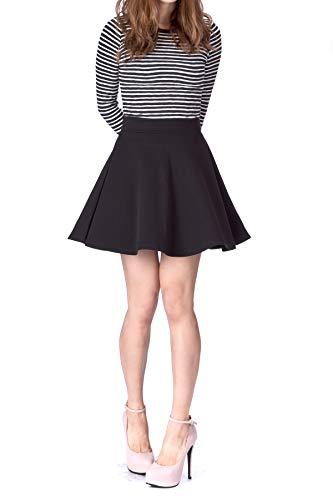 Basic Solid Stretchy Cotton High Waist A-line Flared Skater Mini Skirt (M, Black)