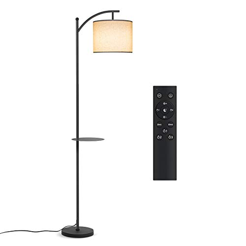 Tomons Floor Lamp, LED Standing Lamps with Remote Control and Adjustable Dimmable Bulb, Tall Industrial Arc Reading Light with Hanging Fabric Lampshade, Removable Shelf for Living Rooms, Bedrooms