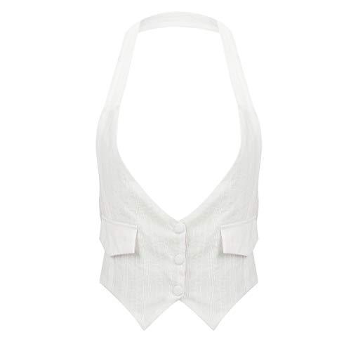 YiZYiF Women's Halter Dressy Casual Versatile Vest Backless Tuxedo Suit Waistcoat White Large