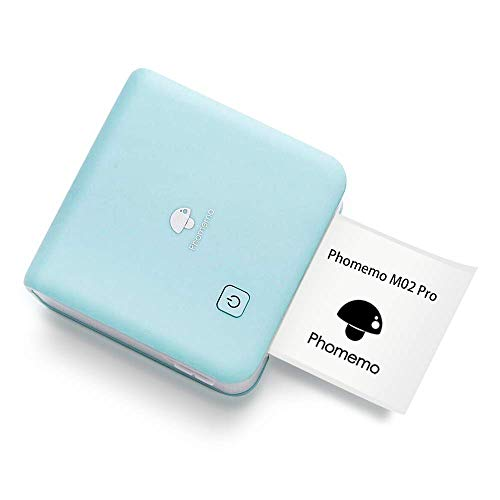 Phomemo 300dpi Mini Photo Printer- M02 Pro Pocker Thermal Bluetooth PrinterCompatible with iOS and Android, for Photo Printing, Bullet Journal, DIY Cards, List, Travel, Work and Study, Cyan