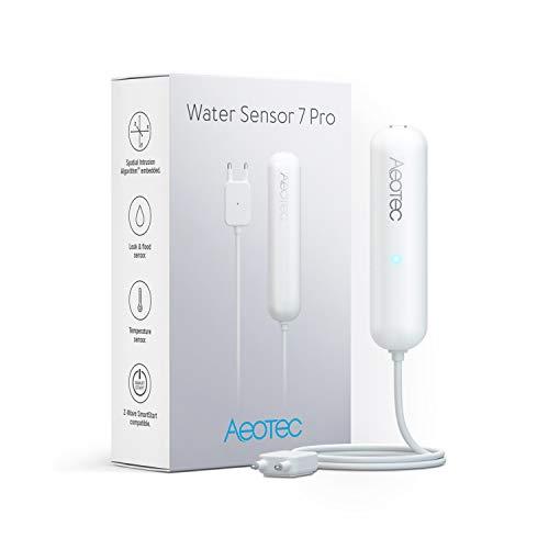 Zwave Water Sensor: Aeotec Water Sensor 7 Pro, with Flood, Temperature, Humidity Sensor, SmartThings Sensor Compatible, Z-Wave Plus, S2, SmartStart, ZWave hub Required