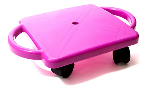 Educational Manual Plastic Scooter Board with Safety Handles | 16' x 11' inches| Perfect for Kids, Teens, Adults | PE, Gym Class, Daycare, Preschool Development, Games, Camps (Purple)