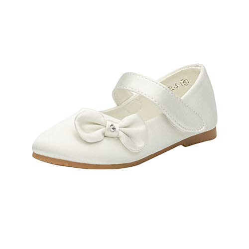 DREAM PAIRS Angel-5 Adorable Mary Jane Side Bow Buckle Strap Ballerina Flat (Toddler/Little Girl) New Ivory Satin Size 10