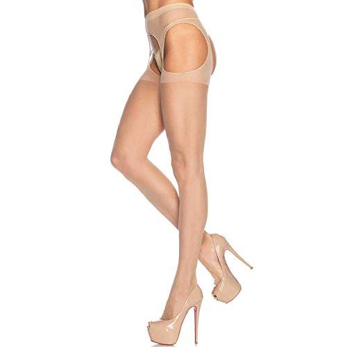 Leg Avenue Women's Sheer Garter Belt Panty Hose,Nude