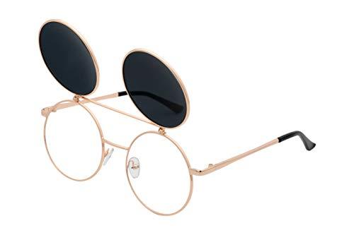 J&L Glasses Retro Flip-Up Round Goggles Seampunk Sunglasses (Golden,Black, Clear), JL60