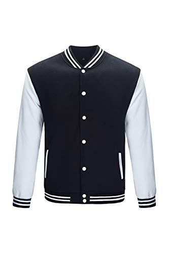 TRIFUNESS Varsity Jacket Letterman Jacket Baseball Jacket with Long Sleeve Banded Collar Black