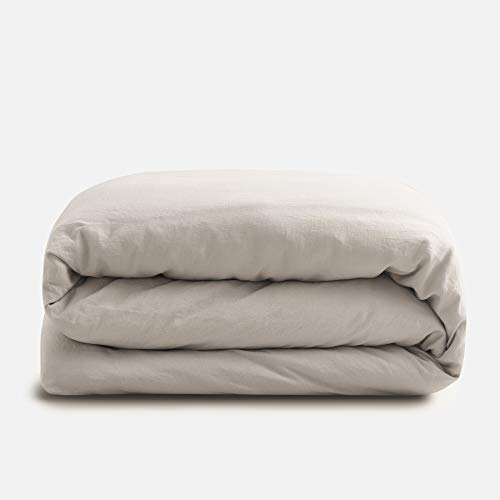 Sijo Premium Stone Washed 100% French Linen Duvet Cover, Small Batch Sourced from Normandy, Breathable and Durable (Fog, King/Cal King)