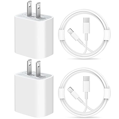 iPhone Fast Charger Cable【Apple MFi Certified】 Lightning Cables 20W PD USB C Wall Charger 2-Pack 6FT Fasting Charging Adapter Compatible with iPhone 12/12 Pro/Max/11/11Pro/XS/Max/XR/X/8/8Plus,iPad