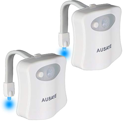 Toilet Night Light (2Pack) by AUSAYE, 8-Color Led Motion Activated Toilet Light, Fit Any Toilet Bowl Light with Two Mode Motion Sensor LED Bathroom Night Light Gift