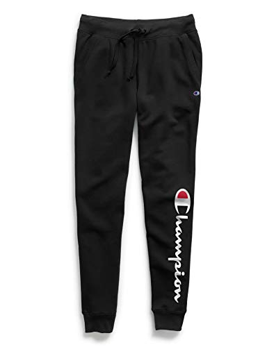 Champion womens Powerblend Jogger Sweatpants, Black - Champion Graphic, Medium US