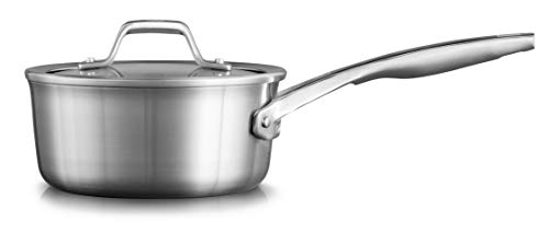 Calphalon Premier Stainless Steel 1.5-Quart Saucepan with Cover, Silver