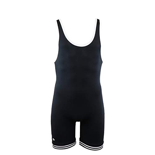 Matman Doubleknit Nylon Adult Wrestling Singlet: Matman 83 Nylon Fabric (Black/White, XX-Large)
