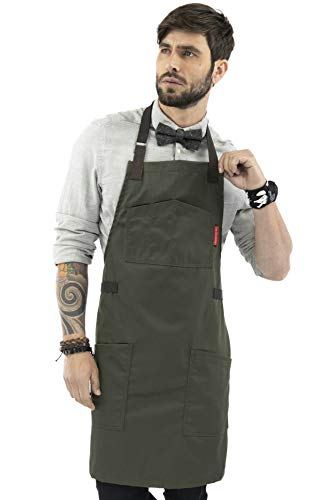 Under NY Sky Chef Apron – Professional Green Twill – Cotton Straps - Smart Pockets - Adjustable for Men and Women – Pro Chef, Cook, Kitchen, Baker, Barista, Bartender, Server Aprons
