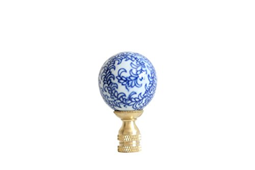 Blue and White Floral Pattern Porcelain Lamp Finial