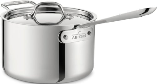 All-Clad 4204 with loop Stainless Steel Tri-Ply Bonded Dishwasher Safe Sauce Pan with Loop Helper Handle and Lid Cookware, 4-Quart, Silver -
