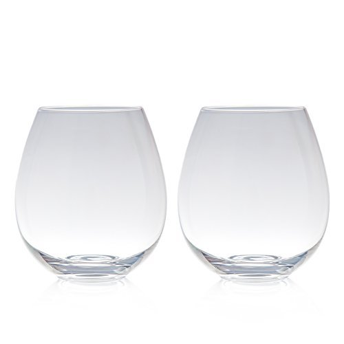 Big Betty - Clear Stemless XL Premium Jumbo Wine Glass Set - Includes 2 Glasses - each Holds a Whole Bottle of Wine