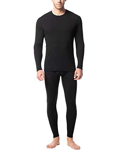 LAPASA Men's Preswarm Heat Generation Thermal Underwear Long John Set Lightweight Base Layer Top and BottomM66 (Small, Black)