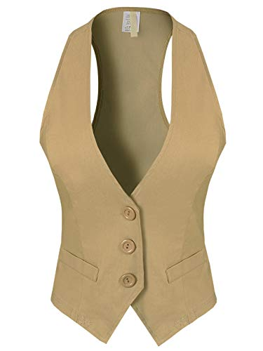 Design by Olivia Women's Dressy Casual Versatile Racerback Vest Tuxedo Suit Waistcoat Khaki M