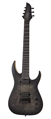 Schecter Guitar Research 7 String Solid-Body Electric Guitar, Right, Trans Black Burst, Full (304)