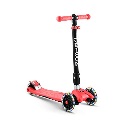 Jetson Twin Folding 3-Wheel Kick Scooter, Red - Light-Up Wheels, Lean-to-Steer Design and Height Adjustable Handlebar, for Kids Ages 5+