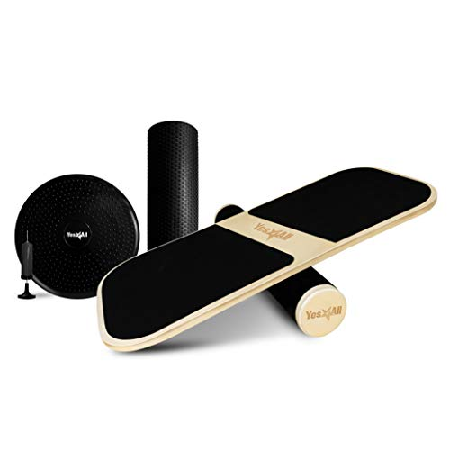 Yes4All 3-in-1 Multifunctional Balance Board/Balance Board Trainer/Simply Fit Board with 3 Interchangeable Bases (Rocker, Air Cushion, Roller) – Hand Pump Included
