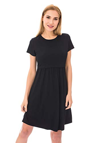 Bearsland Women's Short Sleeves Maternity Dress Nursing Breastfeeding Dresses with Pockets,Black,m