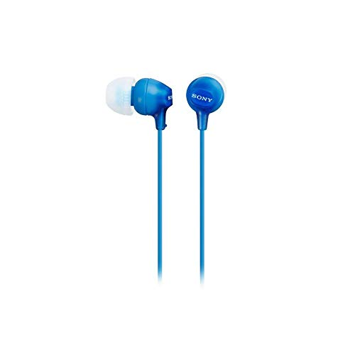 Sony MDREX15AP Fashion Color EX Series Earbud Headset with Mic (Blue) (Renewed)