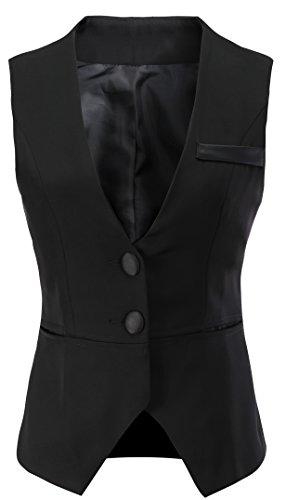 Vocni Women V-Neck Business Slim Fit Skinny Button Down Suit Dressy Vests Waistcoat,Black,US M (Bust 40.15'),Tag 3XL