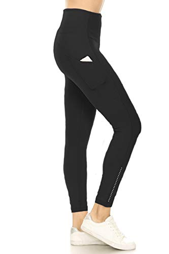 YL8A-BLACK-M Side Pocket Yoga Pants with Reflective Dots, Medium