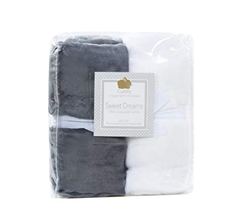 Cozy Fleece Microplush Super Soft Fitted Crib Sheets (Set of 2), Grey/White