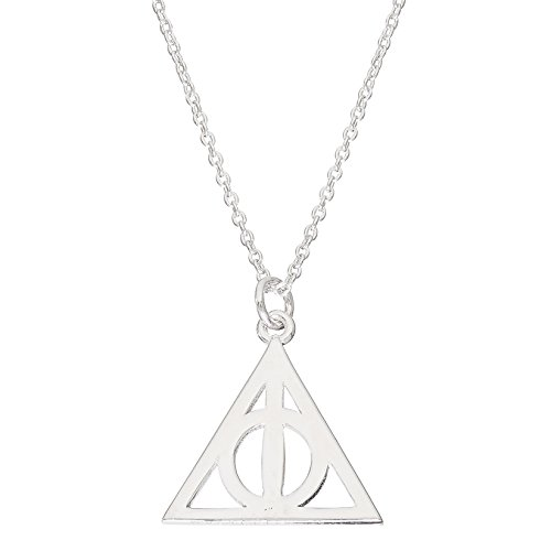 Harry Potter Jewelry for Women, Sterling Silver Deathly Hallows Pendant Necklace, 18' Chain