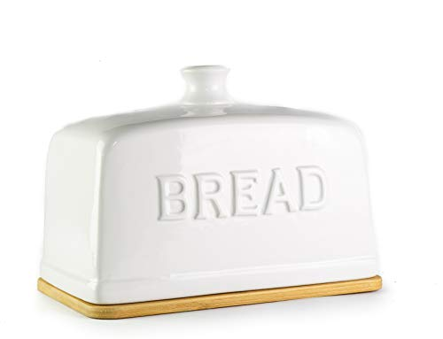 KOVOT Ceramic Bread Box With Bamboo Cutting Board Base