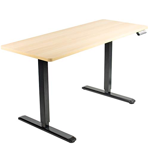 VIVO Electric 60 x 24 inch Stand Up Desk, Light Wood Solid One-Piece Table Top, Black Frame, Height Adjustable Standing Workstation with Memory Preset Controller (DESK-KIT-1B6C)