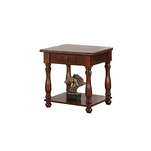 Poundex End Table in Brown Wood Finish, Multi