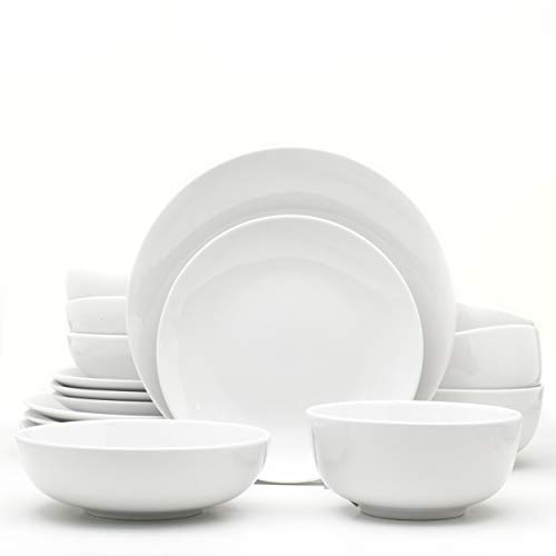 Euro Ceramica White Essential Chip Resistant Collection Dinnerware and Serveware, 16 Piece Set, Service for 4, Classic