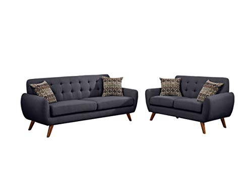 Poundex F6913 Bobkona Sonya Linen-Like 2 Piece Sofa and Loveseat Set, Ash Black