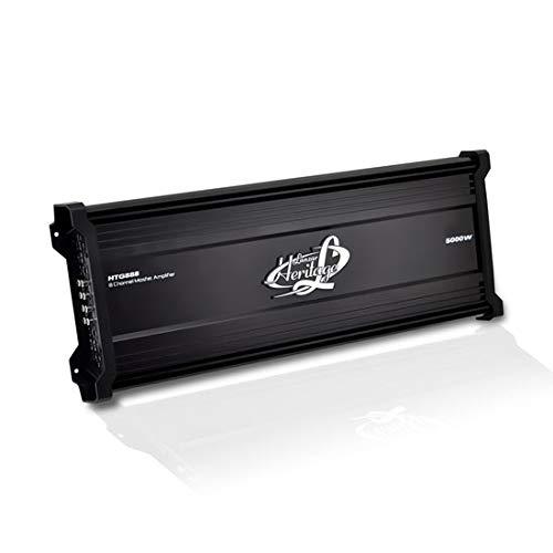 Lanzar Amplifier Car Audio, 5,000 Watt, 8 Channel, 2 Ohm, Bridgeable 4 Ohm, MOSFET, RCA Input, Bass Boost, Mobile Audio, Amplifier for Car Speakers, Car Electronics, Wireless Bluetooth