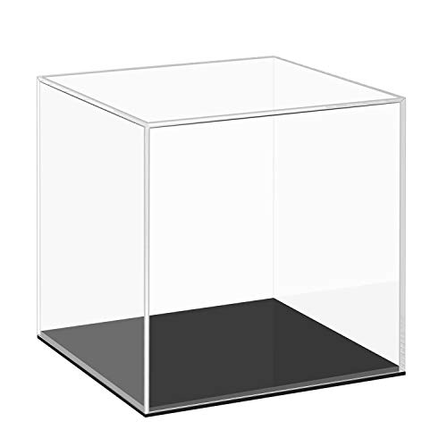 Cliselda Clear Acrylic Display Case with Black Base, Countertop Box Cube Organizer Stand Riser Dustproof Protection Showcase for Action Figures Toys Collectibles (4x4x4 Inch)