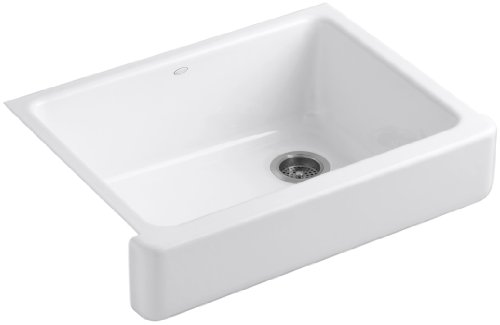 KOHLER K-6486-0 Whitehaven Farmhouse Self-Trimming Undermount Single-Bowl Kitchen Sink with Short Apron, White