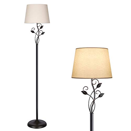 Dimmable Floor Lamp, Standing Lamp with Stepless Dimmer, Rustic Floor Lamp for Living Room, Farmhouse, Corner, Tall Pole Reading Light with Leaf Accent and Linen Shade, ST64 3000K LED Bulb Included
