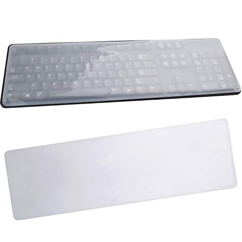 BronaGrand 2 Pack Clear Desktop Computer Keyboard Protection Skin Protector Cover for PC 104/107 Keys Standard Keyboard