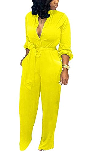 Aro Lora Women's Deep V Neck Long Sleeve Button Down One Piece Wide Leg Jumpsuit Romper Small Yellow