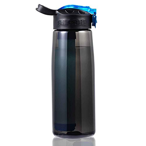 DoBrass Water Bottle with Filter for Travel, Camping, Hiking, Outdoor Sports and Daily Use, Filtered Water Bottle, BPA Free and Leakproof