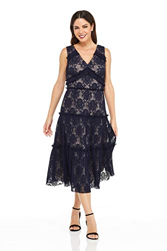 Maggy London Women's Pleat Lace Tiered Cocktail Dress, Galaxy Blue, 14