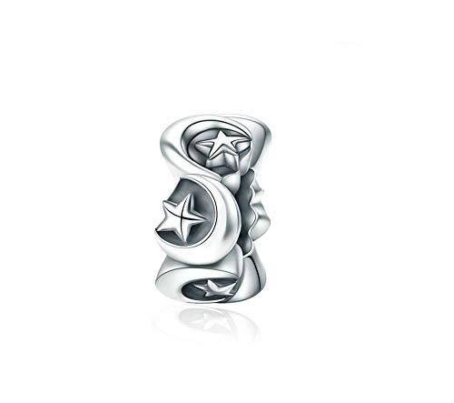 MiniJewelry Women Moon Star Spacer Charm for Bracelets 925 Sterling Silver Charm Bead Girls Sister Birthday Gift