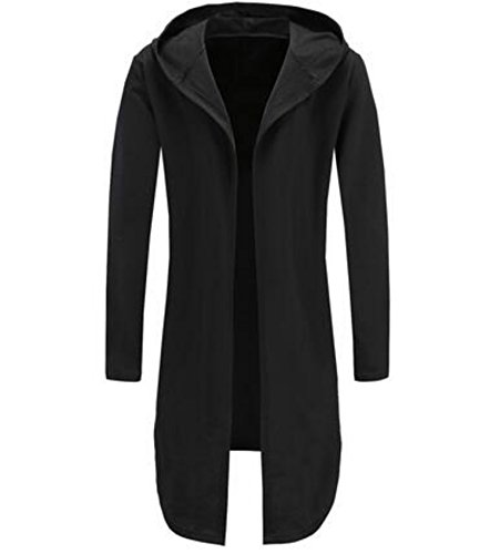 Colygamala Men's Fashion Long Cape Cardigan Sweatshirt Hoodie Black Cloak Outerwear 2017051802-b-M