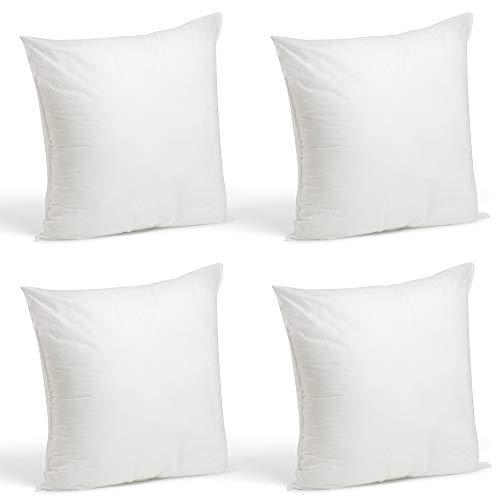 Foamily Set of 4-18 x 18 Premium Hypoallergenic Stuffer Pillow Inserts Sham Square Form Polyester, 18' L X 18' W, Standard/White