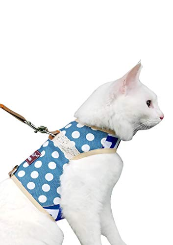 Yizhi Miaow Escape Proof Cat Harness with Leash Extra Large, Adjustable Cat Walking Jackets, Padded Cat Vest Polka Dot Blue