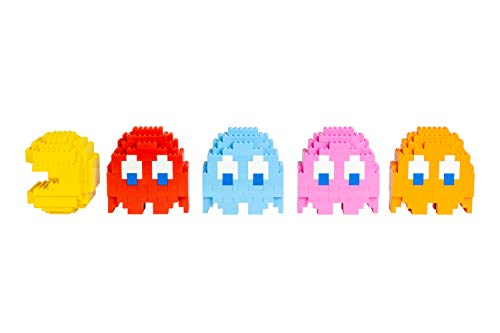 Strictly Briks Pac-Man & BANDAI NAMCO Entertainment Inc | Pac-Man Classic Briks Full Set - Set of 4 Ghost and 1 Pac-Man - 304 Pieces Classic Briks 3D Build