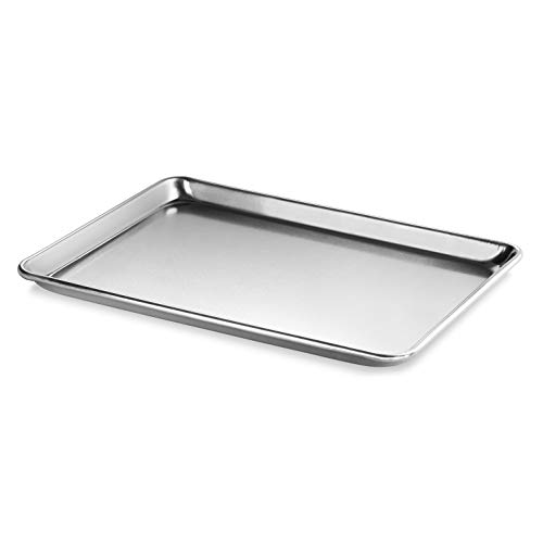 New Star Foodservice 36862 Commercial-Grade 18-Gauge Aluminum Sheet Pan/Bun Pan, 13' L x 18' W x 1' H (Half Size) | Measure Oven (Recommended)